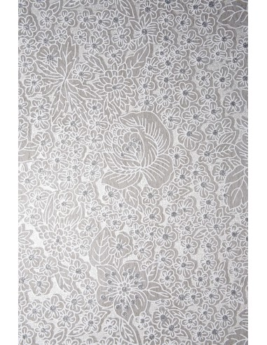 Non-woven Fabric White - Flowers with...